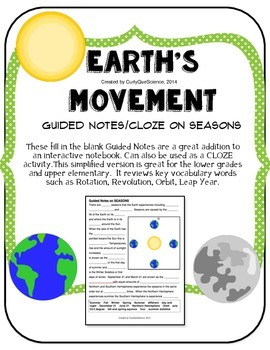 Seasons:  Guided Notes or Cloze Activity