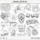 Black Line Art Bundle, Seasons ClipArt Doodles, Winter, Spring Summer, Fall