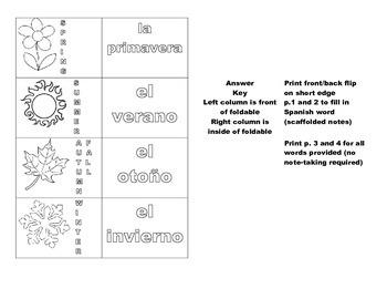 Seasons Los Estaciones del año foldable for Interactive Notebook