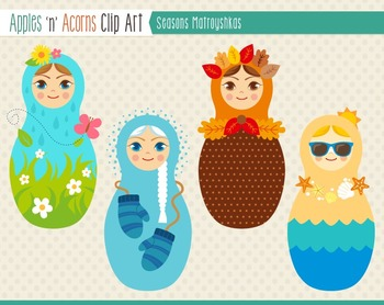 Seasons Matroyshka Russian Dolls Clip Art - color and outlines