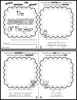 Seasons Mini Book & Worksheet (Spanish included)
