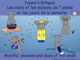 French Seasons, Months and Days of the Week with Pepper in English and French