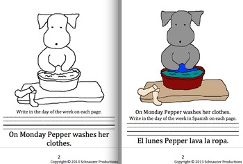 Spanish Seasons, Months and Days of the Week with Pepper in English and Spanish