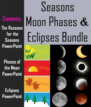 Seasons, Lunar & Solar Eclipses, & Moon Phases Activities and PowerPoint Bundle