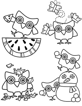 Seasons Owl Bundle Clipart