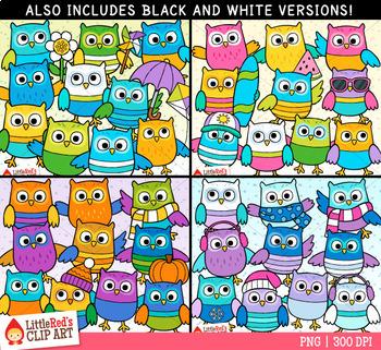 Seasons Owls Clip Art Bundle