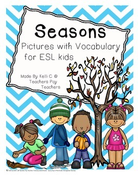 Seasons Pictures and Vocabulary Cards for ESL Students