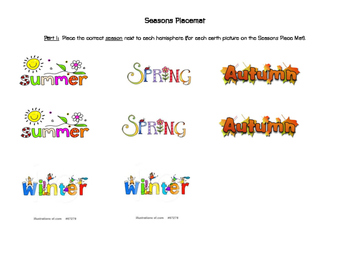 Seasons Placemat Activity