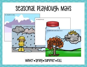 Seasons Playdough Mats with Activity Prompts