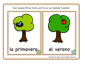 Seasons Printable Minibook & Theme Activity Pack Spanish Resources