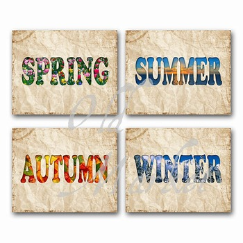 Seasons - Printable Wall Art - Includes 4 Images