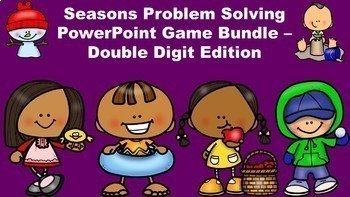 Seasons Problem Solving PowerPoint Game Pack 2 Digit Without Regrouping Edition