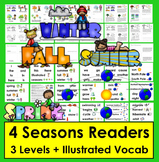 Seasons Readers  3 Reading Levels + Illustrated Word Wall