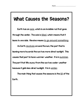 Seasons Reading Comprehension