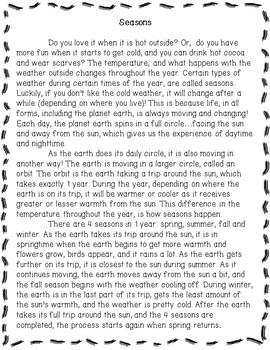 Seasons/ Reading Comprehension Activity