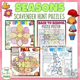 Seasons Reading Comprehension Scavenger Hunt Puzzle Posters