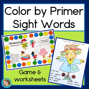 Seasons Reading Game & Color by Sight Words (Primer words)