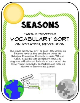 Seasons:  (Rotation and Revolution) Vocabulary Sort