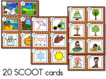 Seasons SCOOT or Write the Room - Labeling Spring, Summer, Fall and Winter
