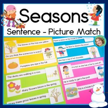 Seasons Sentence Picture Match Reading Center
