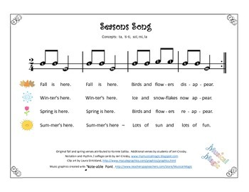Seasons Song with Seasonal Iconic Notation Cards - ta ti-ti, so-mi, la