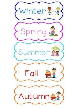 Seasons Sort Pocket Chart Game