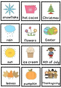 Seasons Sort Pocket Chart Game By Jennifer Dibbert Tpt