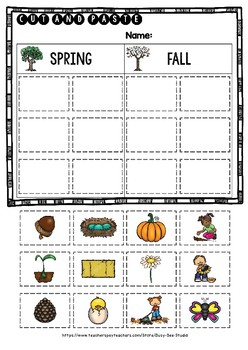 Seasons Sorting | Category Sort | Cut and Paste Worksheets