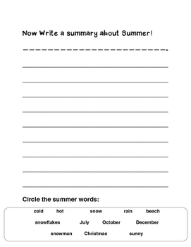 Seasons: Summer Writing Pages  (1st through 3rd)
