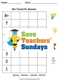 Seasons - Tally Chart and Pictograph Lesson Plan, Vocabulary and Worksheets