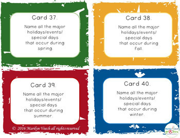 Themed Task Cards -Seasons  - 40 - UPDATED