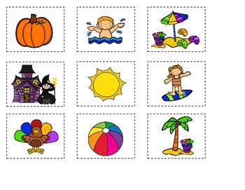 Seasons:  The 4 Seasons Sorting Mat or File Folder Game