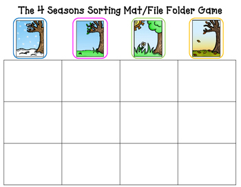 Seasons:  The 4 Seasons Sorting Mat or File Folder Game
