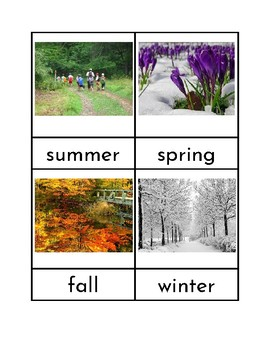 Seasons - Three Part Cards and Sorting Activity