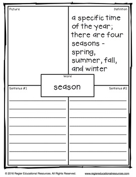 Seasons Tiered Vocabulary Booklets