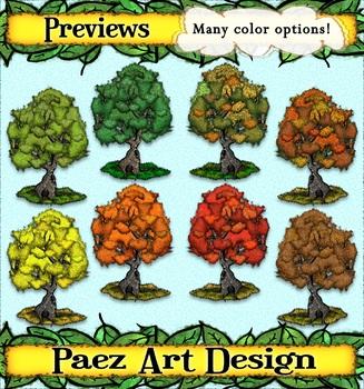 Seasons Tree Clipart {PAEZ ART DESIGN}