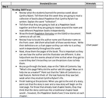 Seasons Unit:Poppleton(Week 2) Common Core Weekly Lesson Plan