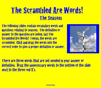 Seasons Vocabulary Activity- NOTEBOOK- The Scrambled are Words!