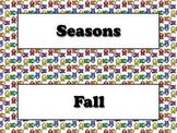 Seasons Vocabulary Calendar Strips - Fall Spring Summer Winter Owls Theme
