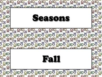 Seasons Vocabulary Calendar Strips - Fall Spring Summer Winter Owls Theme