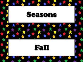 Seasons Vocabulary Calendar Strips - Fall Spring Summer Winter Superstars Theme
