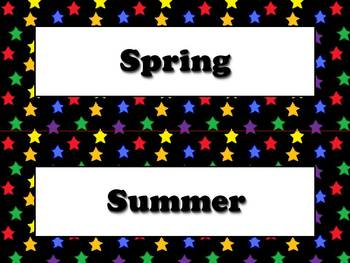 Seasons Vocabulary Calendar Strips - Fall Spring Summer Wi