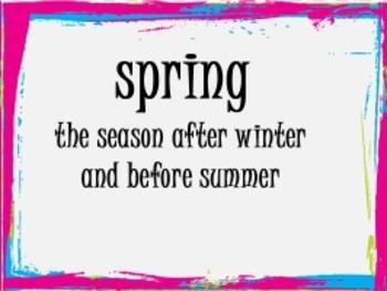 Seasons Vocabulary Cards
