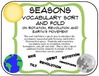 Seasons:  Vocabulary Fold and Sort Graphic Organizer