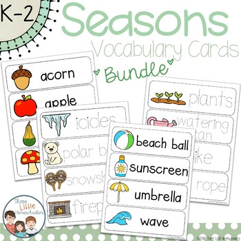 Seasons Vocabulary Word Wall Cards BUNDLE
