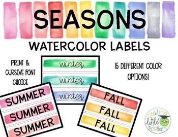 Seasons Watercolor Labels