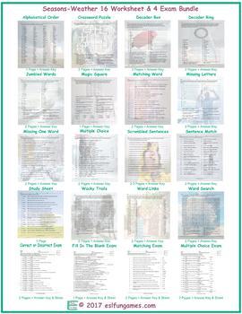 Seasons-Weather 16 Worksheet- 4 Exam Bundle