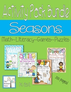 Seasons Winter Spring Fall Summer BUNDLE Activity Pack K-1 Math Literacy Games