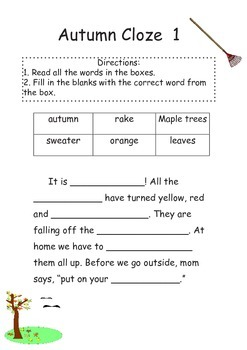 Autumn, Winter, Spring and Summer Word Hunts and Cloze Activities