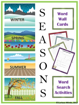 Seasons Word Wall Cards & Word Search Activities